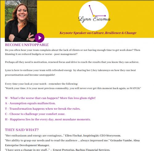 Lynn Erasmus Resilience & Change Keynote Speaker OnePage